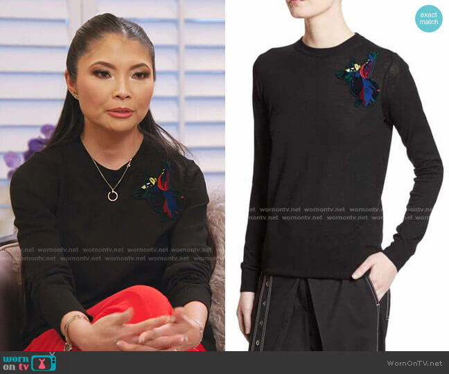 Embroidered-Patch Wool Sweater by Proenza Schouler worn by Jennie Nguyen  on The Real Housewives of Salt Lake City