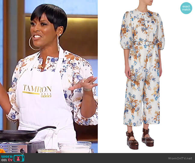Vacation Capri Floral Puff-Sleeve Jumpsuit by Erdem worn by Tamron Hall  on Tamron Hall Show