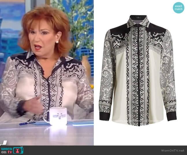 Camicia Boyfriend-Fit Print Silk Shirt by Etro worn by Joy Behar  on The View