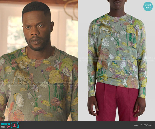 Tiger And Water Lily Print Linen Jumper by Etro worn by Jeff Colby (Sam Adegoke) on Dynasty