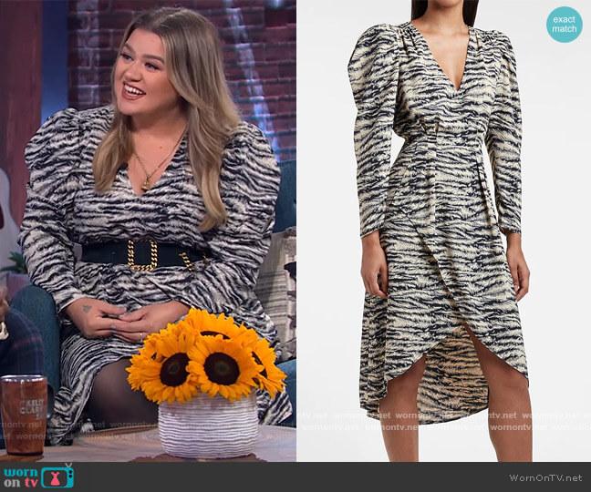 Zebra Print Puff Sleeve Midi Dress by Express worn by Kelly Clarkson  on The Kelly Clarkson Show