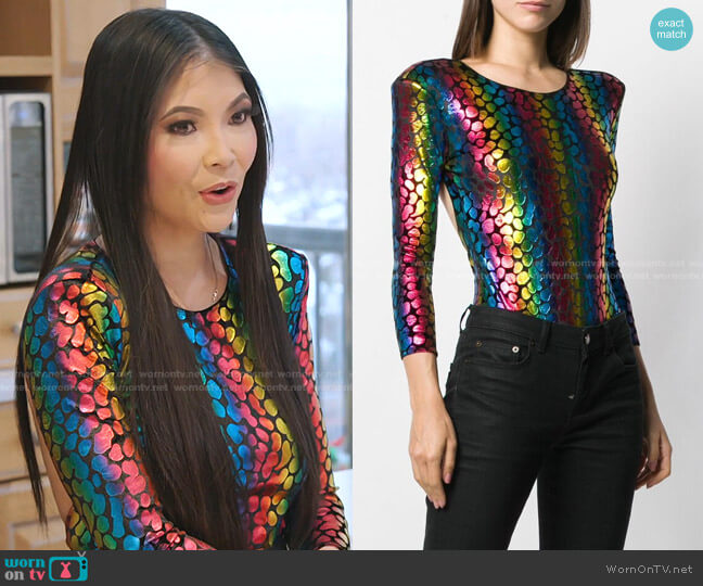 Rainbow Print bodysuit by Faith Connexion worn by Jennie Nguyen  on The Real Housewives of Salt Lake City
