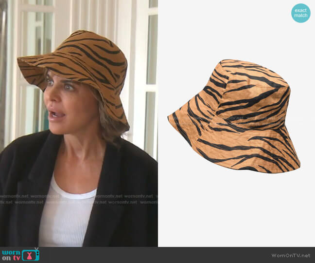 Bettina Tiger-Print Linen Sunhat by Faithfull The Brand worn by Lisa Rinna  on The Real Housewives of Beverly Hills