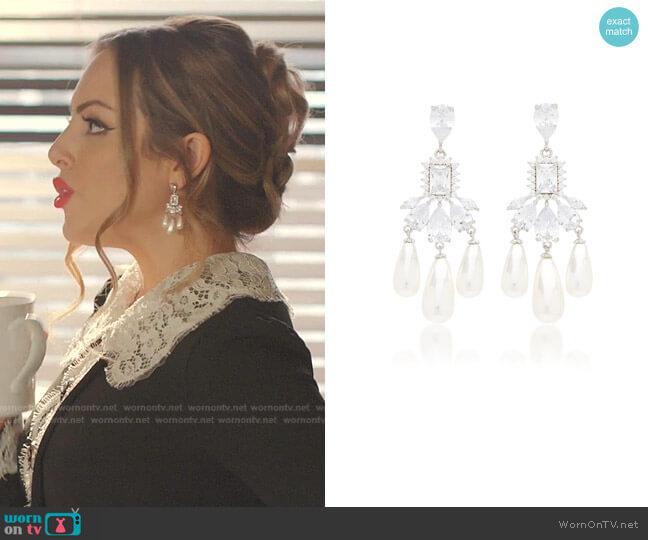 Buckingham Silver-Plated Brass Pearl and Crystal Earrings by Fallon worn by Fallon Carrington (Elizabeth Gillies) on Dynasty