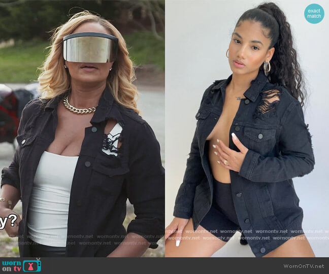 Stereo Love Denim Jacket by Fashion Nova worn by Gizelle Bryant  on The Real Housewives of Potomac