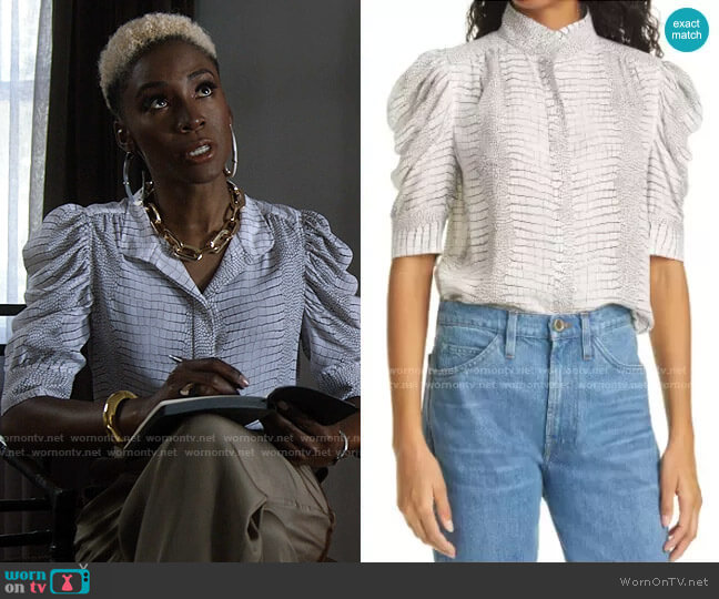Frame Gillian Reptile Silk Blouse worn by The Chemist (Angelica Ross) on American Horror Story