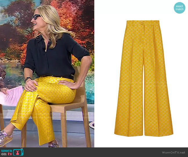 GG Lamé Wide Leg Trousers by Gucci worn by Mel Robbins on Today