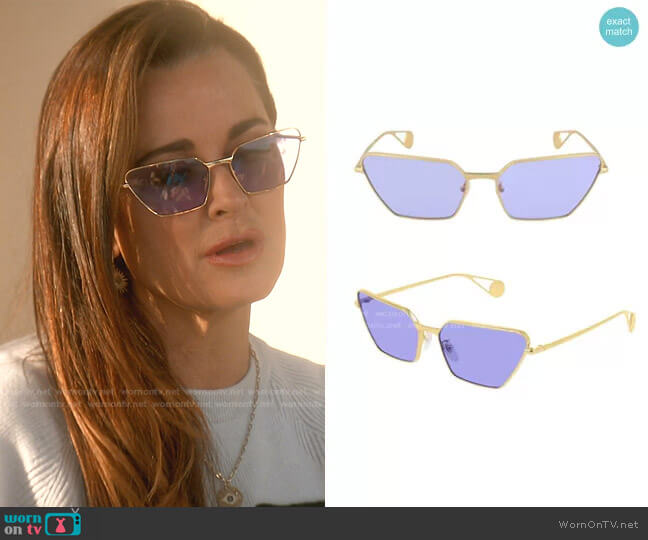 GG0538S Sunglasses by Gucci worn by Kyle Richards  on The Real Housewives of Beverly Hills