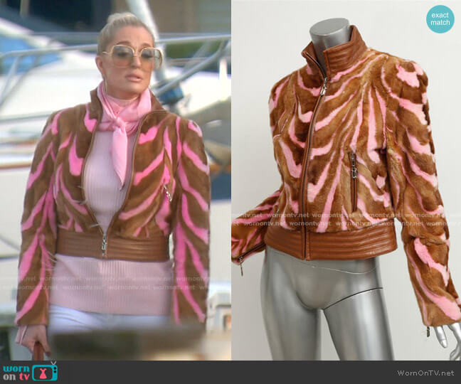 Striped Fur Jacket by Gianni Versace Couture worn by Erika Jayne  on The Real Housewives of Beverly Hills