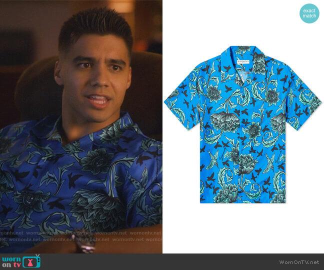 Aqua Floral Print Hawaiin Shirt by Givenchy worn by Vivek Shah (Jordan Buhat) on Grown-ish