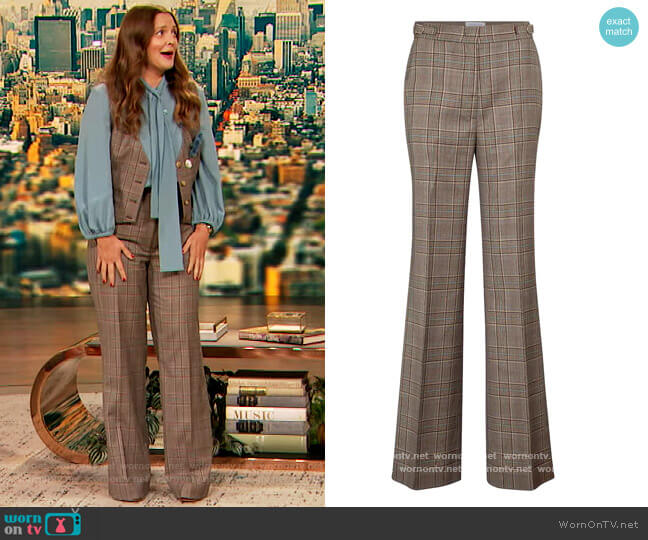 Vesta checked wide-leg virgin wool pants by Gabriela Hearst worn by Drew Barrymore  on The Drew Barrymore Show