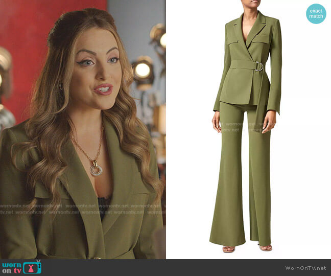 Matte Safari Jacket and Trousers by Galvan worn by Fallon Carrington (Elizabeth Gillies) on Dynasty