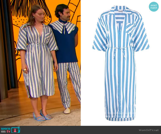 Striped Midi Shirtdress by Ganni worn by Isabelle Chaput on The Drew Barrymore Show