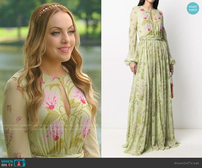 Draped silk Floral-Print Gown by Giambattista Valli worn by Fallon Carrington (Elizabeth Gillies) on Dynasty