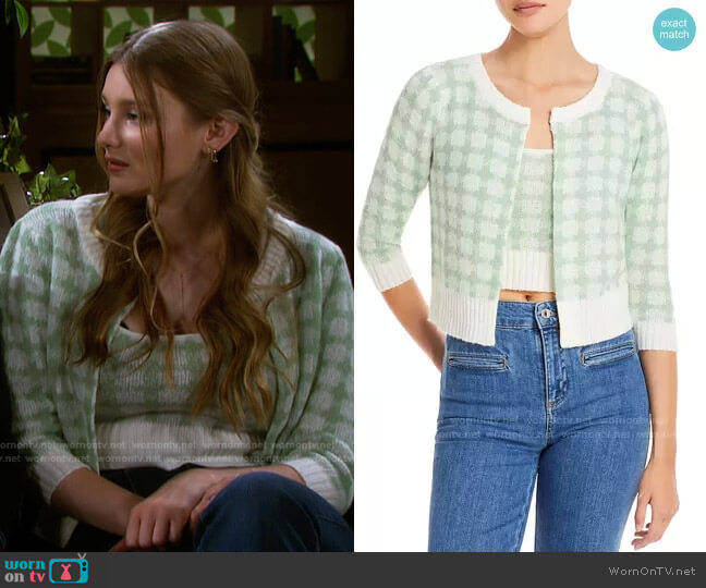 Gingham Cropped Cardigan by Lucy Paris worn by Alice Caroline Horton (Lindsay Arnold) on Days of our Lives