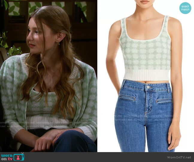 Gingham Cropped Tank Top by Lucy Paris worn by Alice Caroline Horton (Lindsay Arnold) on Days of our Lives