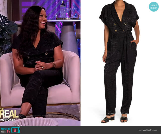 Summer Boss Double Breasted Satin Jumpsuit by Good American worn by Garcelle Beauvais  on The Real