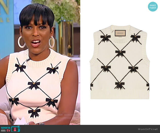 GG Bows knitted sleeveless vest by Gucci worn by Tamron Hall  on Tamron Hall Show