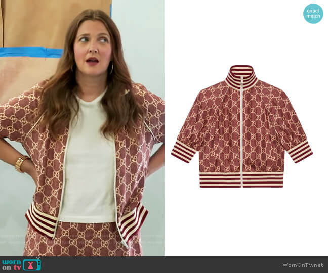 GG Supreme print silk jacket by Gucci worn by Drew Barrymore  on The Drew Barrymore Show