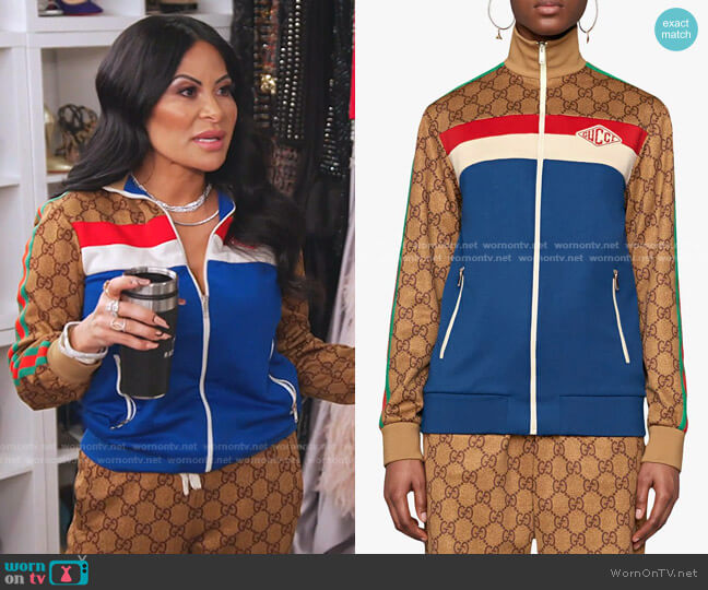 GG Technical Jersey Jacket by Gucci worn by Jen Shah  on The Real Housewives of Salt Lake City