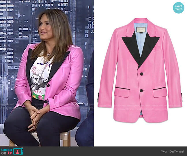 Leather Two-Button Jacket by Gucci worn by Mariska Hargitay on Today