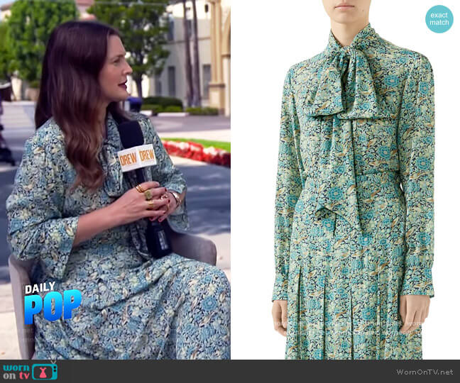 Liberty Floral Crepe Shirt and Skirt by Gucci worn by Drew Barrymore on E! News Daily Pop