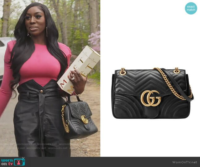 Marmont medium matelasse shoulder bag by Gucci worn by Wendy Osefo  on The Real Housewives of Potomac
