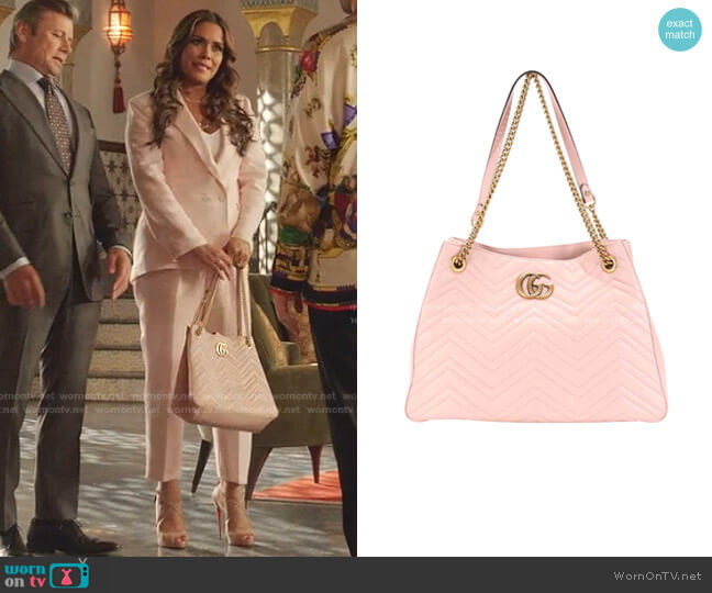 Matelasse GG Marmont Shoulder Tote Bag by Gucci worn by Cristal Jennings (Daniella Alonso) on Dynasty