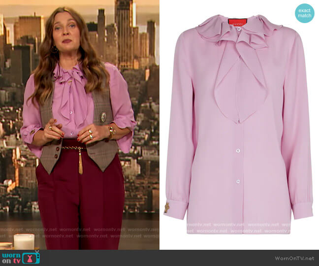 Silk Blouse by Gucci worn by Drew Barrymore  on The Drew Barrymore Show