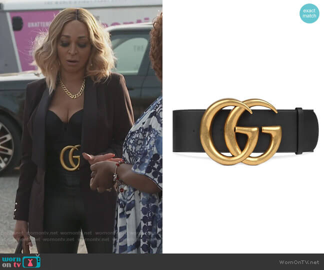 Wide leather belt with Double G by Gucci worn by Karen Huger  on The Real Housewives of Potomac
