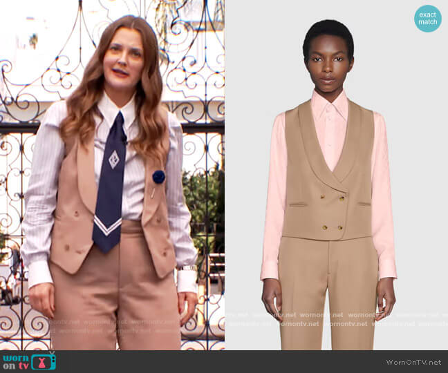 Double Breasted Gabardine Vest and Pants by Gucci worn by Drew Barrymore  on The Drew Barrymore Show