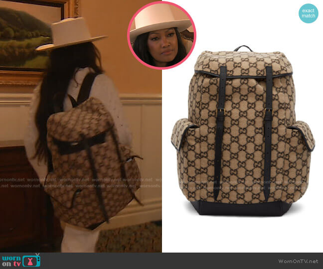 Monogram Pattern Backpack by Gucci worn by Garcelle Beauvais  on The Real Housewives of Beverly Hills