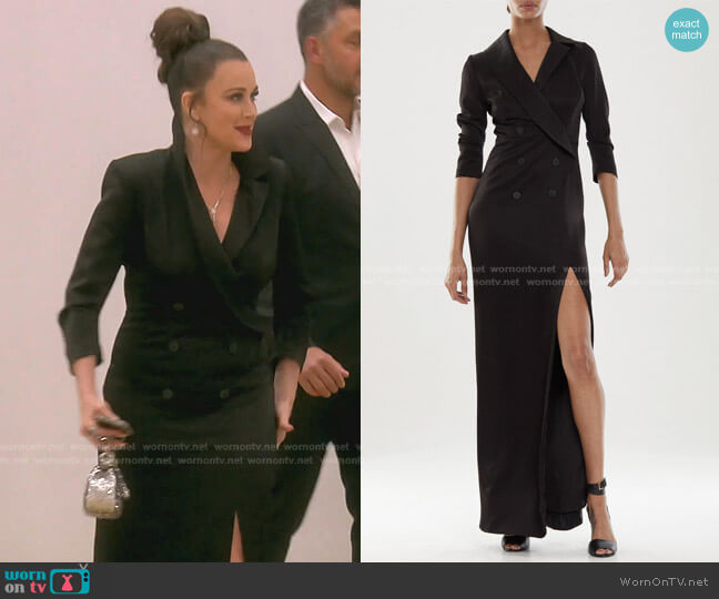 Satin Tuxedo Gown by Halston worn by Kyle Richards  on The Real Housewives of Beverly Hills