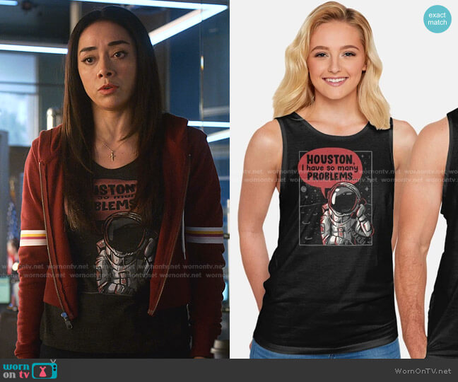 Houston I Have So Many Problems Tank by Eduely at TeeFury worn by Ella Lopez (Aimee Garcia) on Lucifer