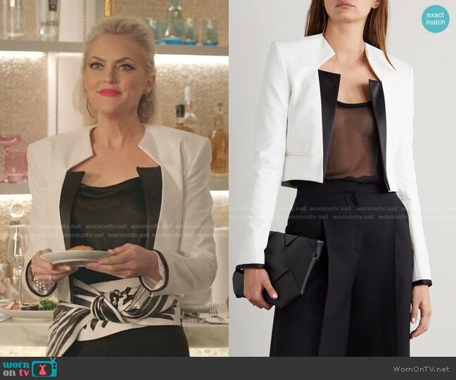 Silk-Trimmed Cotton-Twill Jacket by Haider Ackermann worn by Alexis Carrington (Elaine Hendrix) on Dynasty