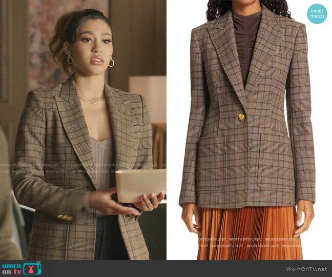 Hicks Check Single Button Blazer by A.L.C. worn by Kara Royster on Dynasty