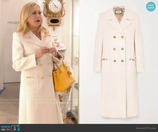 Horsebit-Detailed Double-Breasted Coat by Gucci worn by Sutton Stracke  on The Real Housewives of Beverly Hills