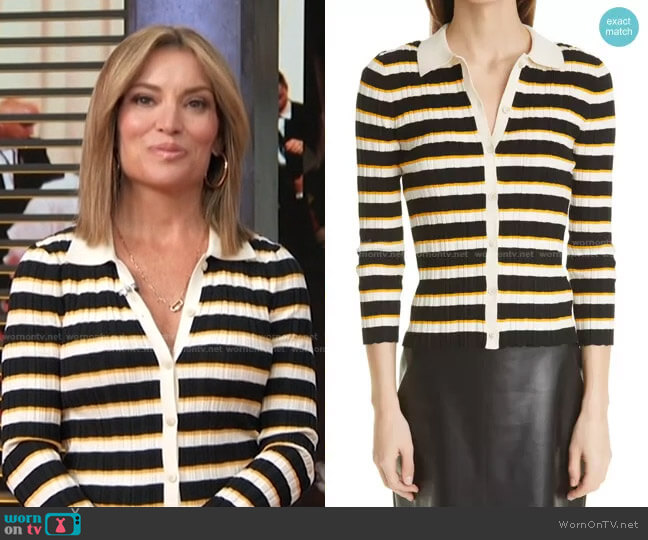 Hudson Stripe Cardigan by Theory worn by Kit Hoover  on Access Hollywood