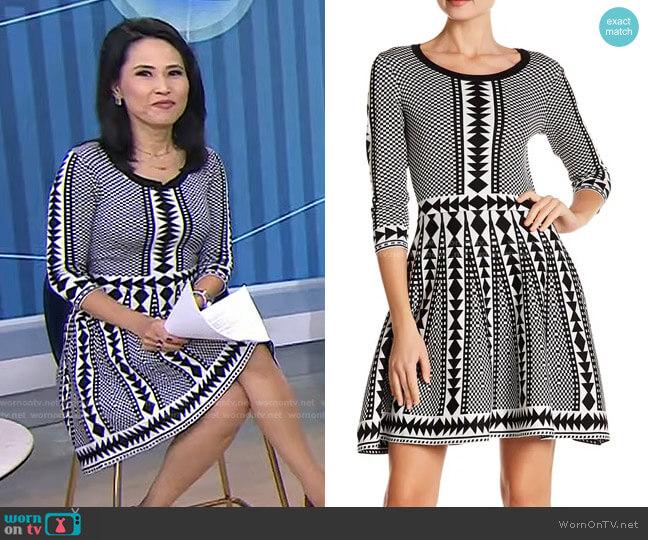 Geometric Print Sweater Dress by Nina Leonard worn by Vicky Nguyen  on Today