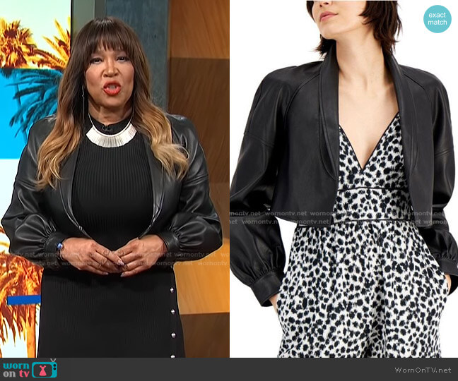 Cropped Faux-Leather Blazer by INC International Concepts worn by Kym Whitley  on E! News