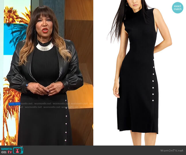 Ribbed Snap-Front Dress by INC International Concepts worn by Kym Whitley  on E! News