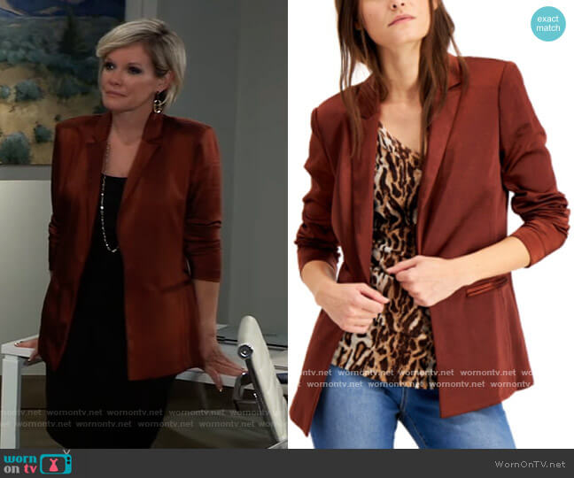 Satin Open-Front Blazer by INC International Concepts worn by Ava Jerome (Maura West) on General Hospital