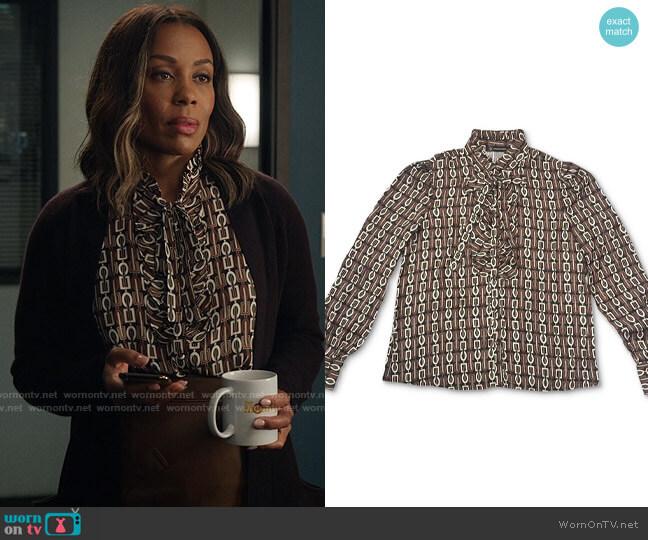 INC International Concepts Jolie Printed Ruffled Blouse worn by Mia Jordan (Karen Pittman) on The Morning Show