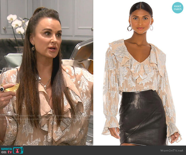 Labra Blouse by Iro worn by Kyle Richards  on The Real Housewives of Beverly Hills