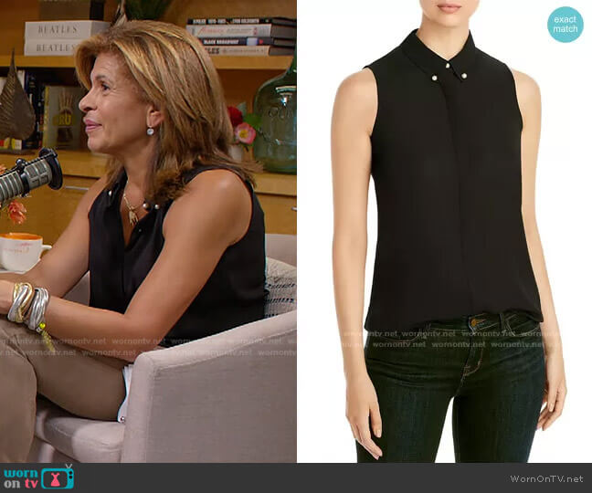 Imitation Pearl Button Sleeveless Top by Karl Lagerfeld worn by Hoda Kotb  on Today