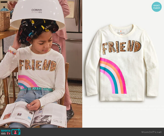 Best Friends T-Shirt by J. Crew worn by Ami (Jordyn Raya James) on Family Reunion