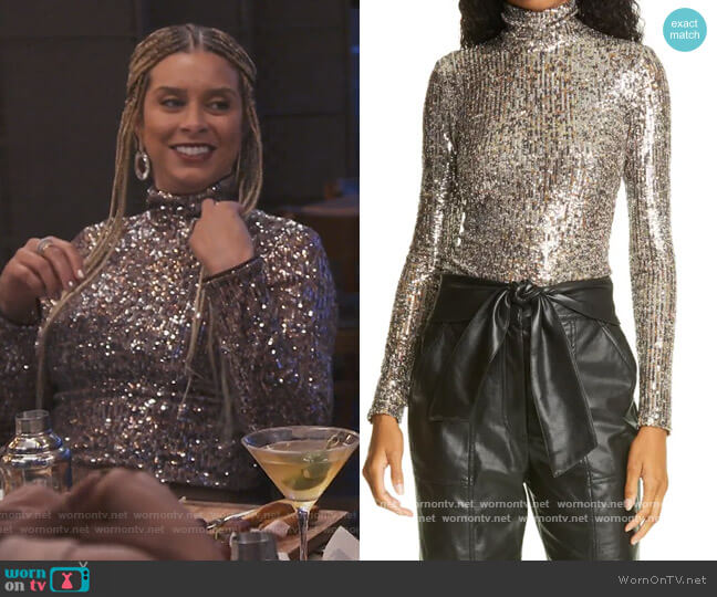 Metallic Top by Jonathan Simkhai worn by Robyn Dixon  on The Real Housewives of Potomac
