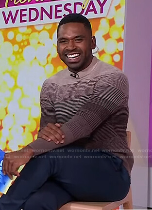 Justin's brown striped sweater on Today