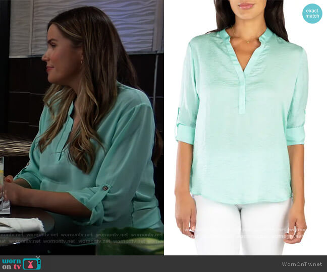 Sheer Blouse by KUT from Kloth worn by Sasha Gilmore (Sofia Mattsson) on General Hospital