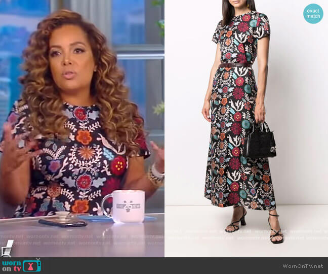 Floral Maxi shiftsilk Dress by La DoubleJ worn by Sunny Hostin  on The View